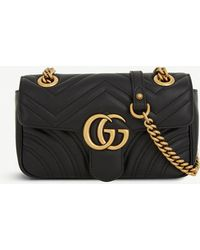 1838db13665 Gucci - Women's Black Heart Embroidered Marmont GG Mini Leather Cross Body  Bag - Lyst