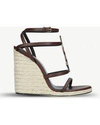 Saint Laurent - Cassandra Wedge Sandals - Lyst