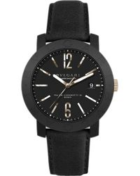 BVLGARI - - 18ct Pink-gold And Leather Watch - Lyst