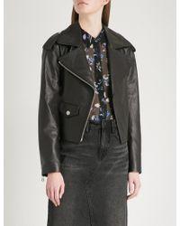 Mo&co. - Zipped Leather Biker Jacket - Lyst