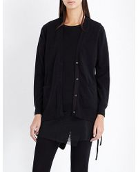5cm - Lace-up Knitted Cardigan - Lyst