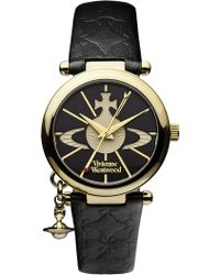 Vivienne Westwood - Vv006bkgd Orb Ii Gold-plated And Leather Watch - Lyst