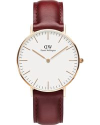Daniel Wellington - Classic Suffolk Rose-gold And Leather Strap - Lyst