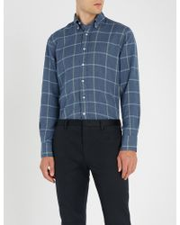 Canali - Checked Chambray Shirt - Lyst