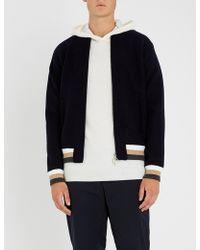Eleventy - Striped Wool Varsity Jacket - Lyst