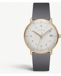 Junghans - 027/7806.00 Max Bill Automatic Gold-plated And Leather Strap Watch - Lyst