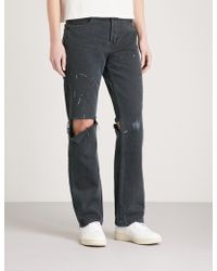 RE/DONE - Distressed Straight High-rise Jeans - Lyst