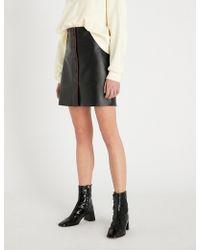 Sandro - A-line Mini Leather Skirt - Lyst