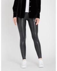 Spanx - Crocodile-print Faux-leather leggings - Lyst