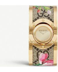 39dbba91230 Gucci - Ya112443 Twirl Gold-plated Sterling Silver And Fabric Quartz Watch  - Lyst