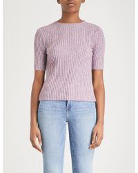 Mo&co. - Open-back Ribbed Marled Cotton-blend Jumper - Lyst