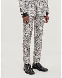 Alexander McQueen Lace-print Slim-fit Crepe Trousers - Black