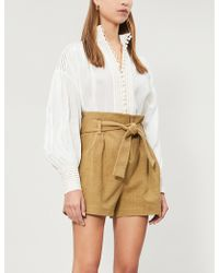 Ba&sh - High-rise Cotton And Linen-blend Shorts - Lyst