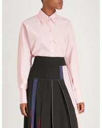 Sportmax - Contrast-stitch Cotton-poplin Shirt - Lyst