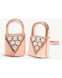 Michael Kors - Mercer Link Rose Gold-plated Pave-embellished Padlock Earrings - Lyst