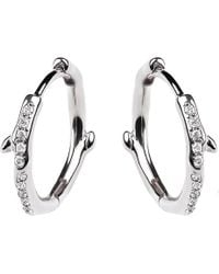 Shaun Leane - Cherry Branch Silver And Diamond Hoop Earrings - Lyst