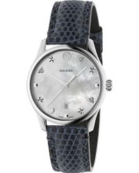 Gucci - Ya126588 G-timeless Mother-of-pearl And Lizard-leather Strap Quartz Watch - Lyst