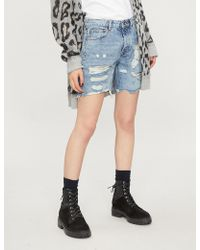 The Kooples - High-rise Faded-wash Denim Shorts - Lyst