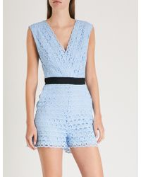 899539cabd Sandro Poetry Lace Playsuit in Black - Lyst