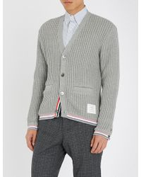 Thom Browne - Stripe-trimmed Knitted-cotton Cardigan - Lyst