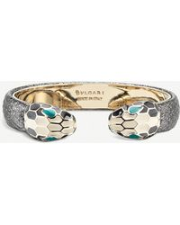 BVLGARI - Serpenti 18kt Gold-plated And Leather Bracelet - Lyst