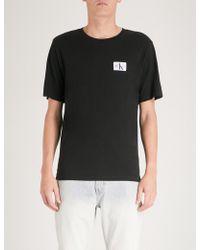 Ck Jeans - Monogram Badge Cotton-jersey T-shirt - Lyst