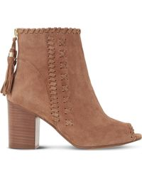 Dune - Primrose Suede Peep-toe Ankle Boots - Lyst