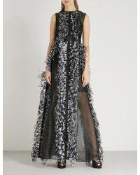Huishan Zhang - Feather-trimmed Silk Dress - Lyst