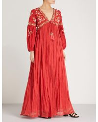 9c40d0a643fd66 Las Noches Ibiza - Tiger Pearl Embellished Cotton-gauze Maxi Dress - Lyst