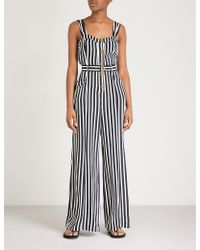 Free People - City Girl Striped Satin Jumpsuit - Lyst