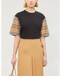 71d3c276d2 Burberry - Women s Black Serra Check-sleeve Cotton Jersey T-shirt - Lyst