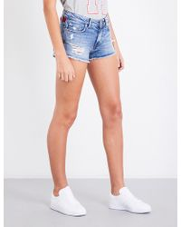 Tommy Hilfiger - X Gigi Hadid Destroyed Denim Shorts - Lyst