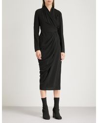 Rick Owens - Ruched Silk Wrap Dress - Lyst