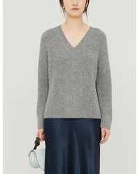 The White Company V-neck Knitted Jumper - Gray