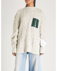 MM6 by Maison Martin Margiela - Oversized Cable-knit Cotton-blend Jumper - Lyst