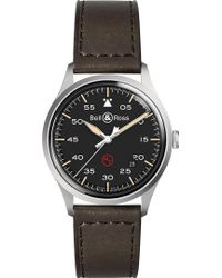 Bell & Ross - Brv192milstsca Replica Steel And Leather Strap Watch - Lyst