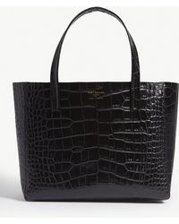 Kurt Geiger - Black Violet Reptile Effect Leather Horizontal Tote Bag - Lyst