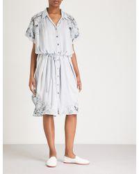 52a2c991b4aa0 Boutique Moschino Striped Stretch Cotton Poplin Shirt Dress in Blue ...