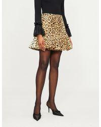 Valentino - Leopard-print Wool And Silk-blend Skirt - Lyst