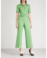 Gucci | Belted Wool-blend Jumpsuit | Lyst