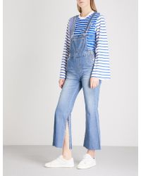 SJYP - Distressed-detail Denim Dungarees - Lyst