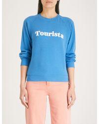 Wildfox - Tourista Cotton Flocked Slogan Sweatshirt - Lyst