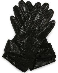 Armani - Embossed Leather Gloves - Lyst