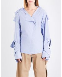 Moohong - Asymmetric-collar Pinstriped Cotton Shirt - Lyst