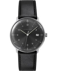 Junghans   041/4462.00 Max Bill Stainless Steel And Leather Quartz Watch   Lyst
