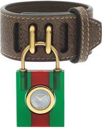 Gucci - Twirl Small Leather Strap Padlock Watch - Lyst