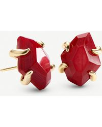 Kendra Scott Inaiyah 14ct Gold-plated And Red Mother-of-pearl Earrings