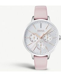 BOSS - 1502419 Symphony Stainless Steel And Leather Quartz Watch - Lyst