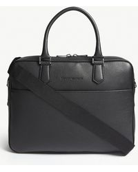 Emporio Armani - Black Grained Leather Briefcase - Lyst