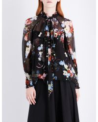 Erdem - Isabelle Self-tie Silk-voile Top - Lyst